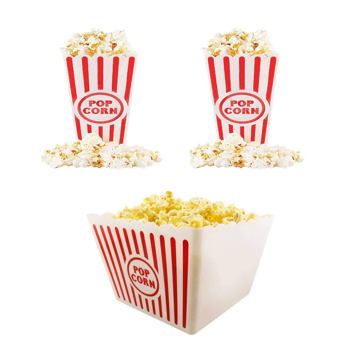 Plastic Red & White Striped Classic Popcorn Containers for Movie Night Bundle 8 1/2'' Square x 7'' Deep & 6.11'' Tall x 3.8'' Square (3)