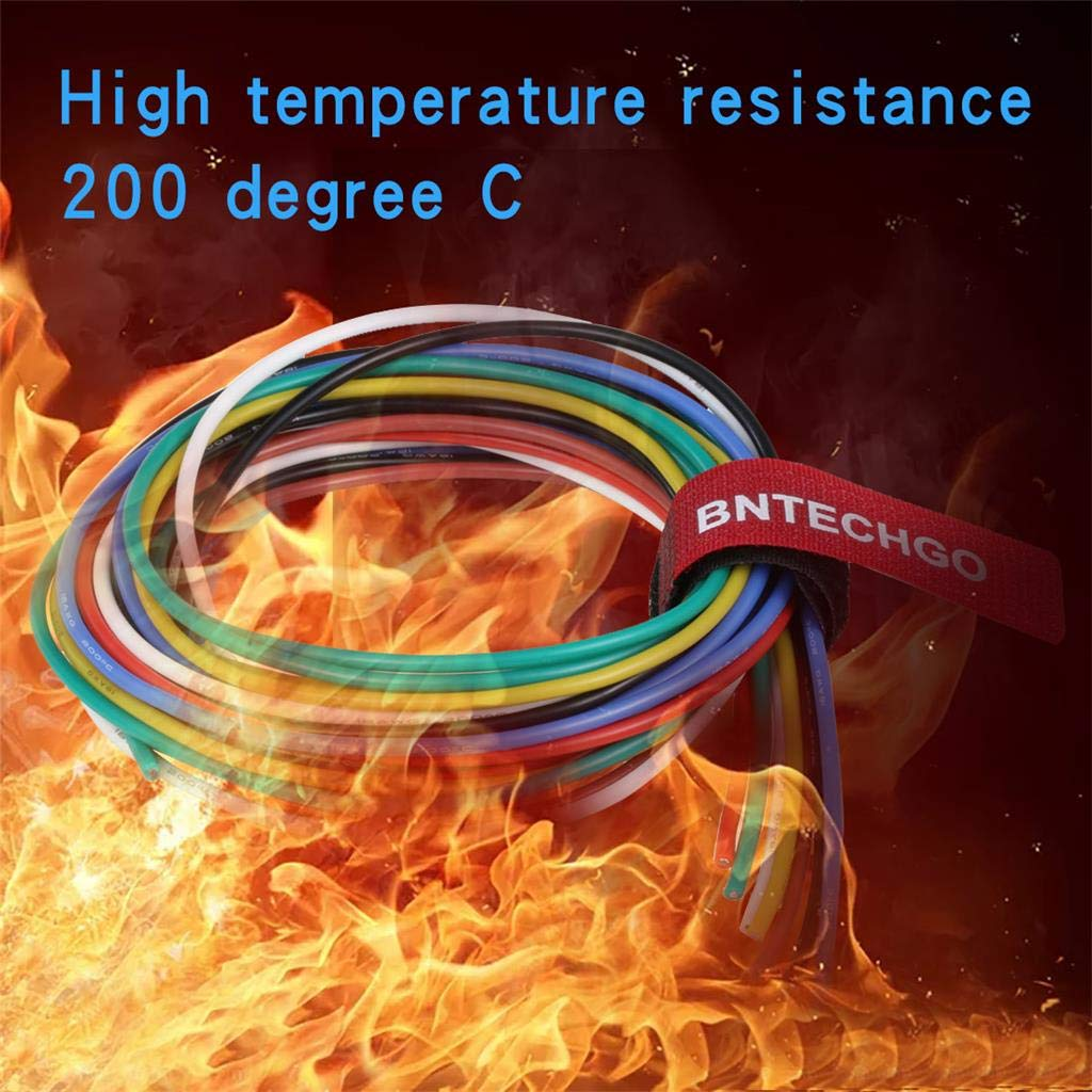 BNTECHGO 18 Gauge Silicone Wire Kit Ultra Flexible 7 Color High Resistant 200 deg C 600V Silicone Rubber Insulation 18 AWG Silicone Wire 150 Strands of Tinned Copper Wire Stranded Wire Battery Cable bntechgo.com