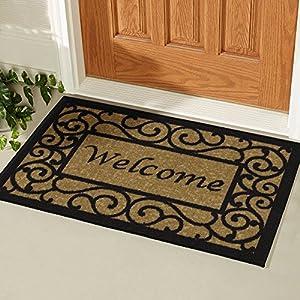 """Ottomanson Ottohome Collection Rectangular Welcome Doormat (Machine-Washable/Non-Slip), Beige, 20"""" X 30"""""""