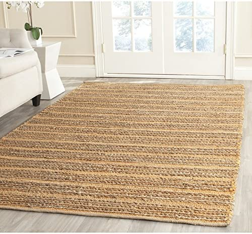 Safavieh Cape Cod Collection CAP851A Hand Woven Orange Jute and Cotton Area Rug 8 x 10