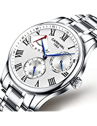 Mens Energy Display 25 Jewels Automatic Watches Silver Band Transparent Back Cover Calendar Watch White