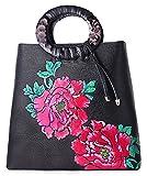 PIFUREN Large Designer Floral Handbags Flower Tote Bag for Women (H76013H, Black/Red)