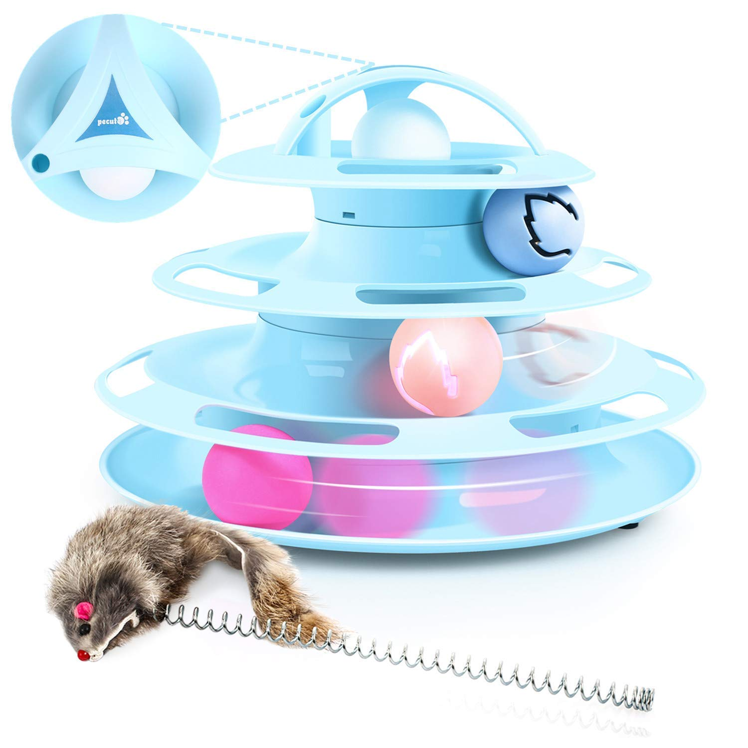 Pecute Cat Toy Cat Turntable Ball, 4 Layers 4 Balls, with Cat Mint & Mouse Playing Cat Sticks, Anti-Skid Detachable
