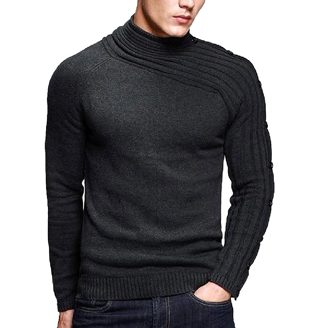 VITryst-Men Long Sleeve Winter Knitted Stand Collar Pullover Sweater