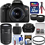 Canon EOS Rebel T6i Wi-Fi Digital SLR Camera & EF-S 18-55mm is & 55-250mm is STM Lens with 32GB Card + Case + Flash + Tripod + Tele/Wide Lens Kit