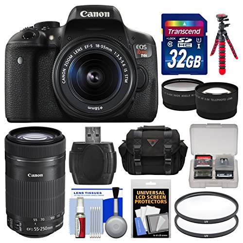 Canon EOS Rebel T6i Wi-Fi Digital SLR Camera & EF-S 18-55mm is & 55-250mm is STM Lens with 32GB Card + Case + Flash + Tripod + Tele/Wide Lens Kit