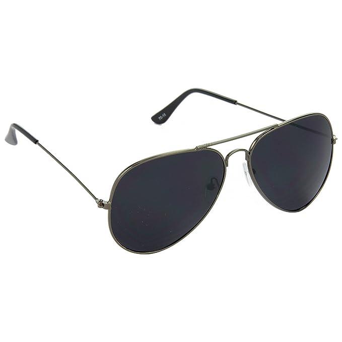 9a58ad2a9b0f HRINKAR Trail Blazer Aviator Black Lens and Gray Frame Sunglasses for Men  and Women - HRS