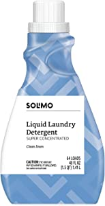 Amazon Brand - Solimo Amazon Brand Concentrated Liquid Laundry Detergent, Clean Linen, 64 Loads, 48 fl oz
