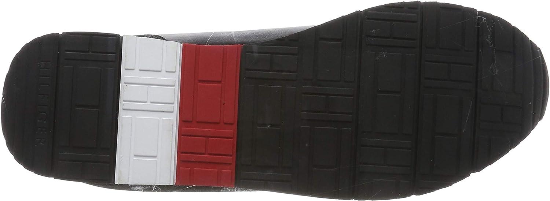 Tommy Hilfiger Corporate Leather Flag Runner, Sneakers Basses Homme Noir Black 990