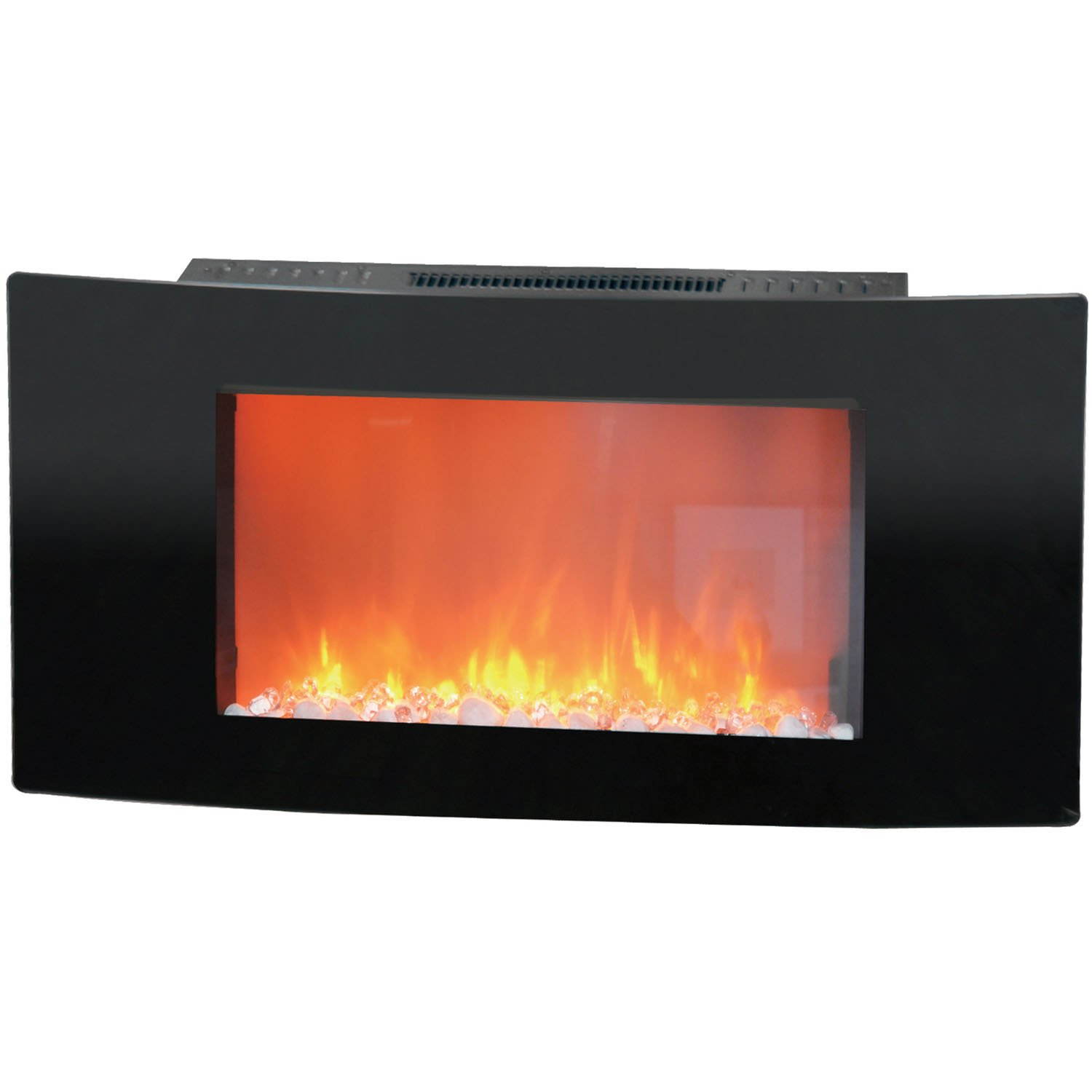 Cambridge Callisto 35 In. Wall-Mount Electronic Fireplace with Curved Panel and Crystal Rocks CAM35WMEF-1BLK