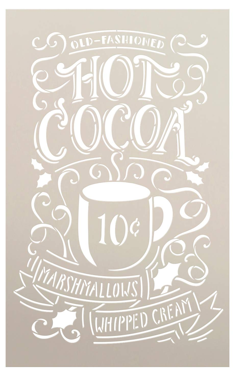 Hot Cocoa Stencil by StudioR12   Reusable Mylar Template  Typography, Word Art, Painting, Chalk,  Use for Crafting Christmas/Winter Farmhouse style Wood Signs (STCL1384_2) SELECT SIZE Studio R 12