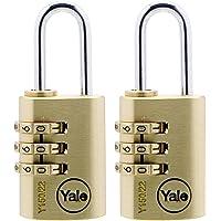 Yale Y150/22/120/2 Messing Combinatie Hangslot, 22mm, pak van 2, geschikt voor fitnessruimte kluisjes en bagage