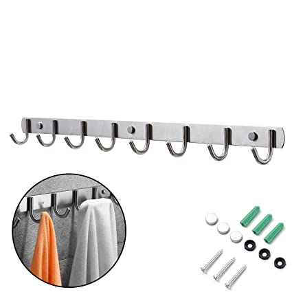 Perchero Pared, Ganchos Percheros de Pared de Montaje para Dormitorio Baño y Cocina, Perchas de Acero Inoxidable Engrosado Plata (8 Hook)
