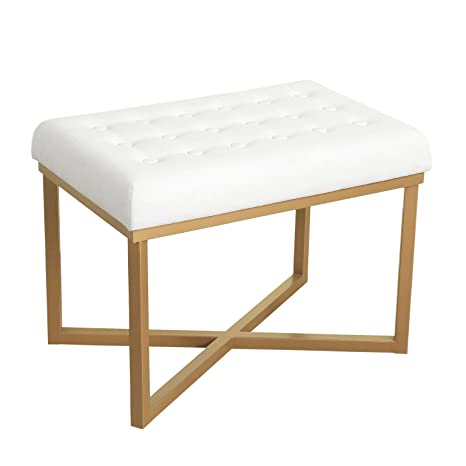 Cool Homepop Velvet Tufted Ottoman With Metal Base White Bralicious Painted Fabric Chair Ideas Braliciousco