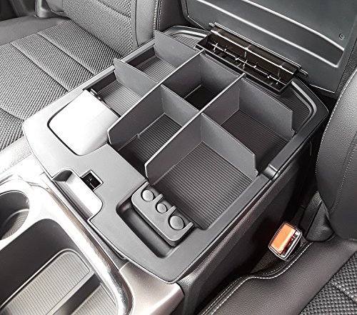 2010-19 Vehicle OCD Upper Center Console Organizer for Dodge RAM 1500 and RAM 2500//3500 Leather Wrapped Console armrest on Full Console w//Bucket Seats ONLY 2009-18 - Made in USA Salex Organizers SLX135