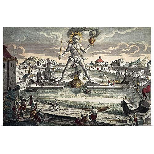 GREATBIGCANVAS Poster Print Entitled Colossus of Rhodes. Seven Wonders of The World. 17-18th c. Engraving with Color by 18