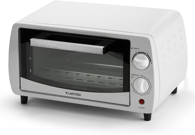 KLARSTEIN MINI PIZZA OFEN TIMER 800 W BIS 250 °C TEMPERATUR 11 L GARRAUM WEISS