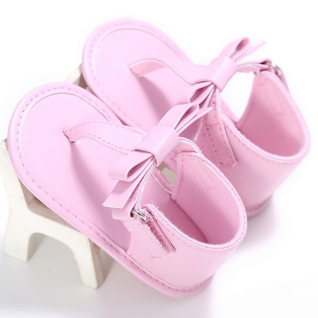WARMSHOP Infant Baby Girls T-Strap Anti-slip Sandals PU Leather Bowknot Soft Crib Shoes Blue, 0~6 Month