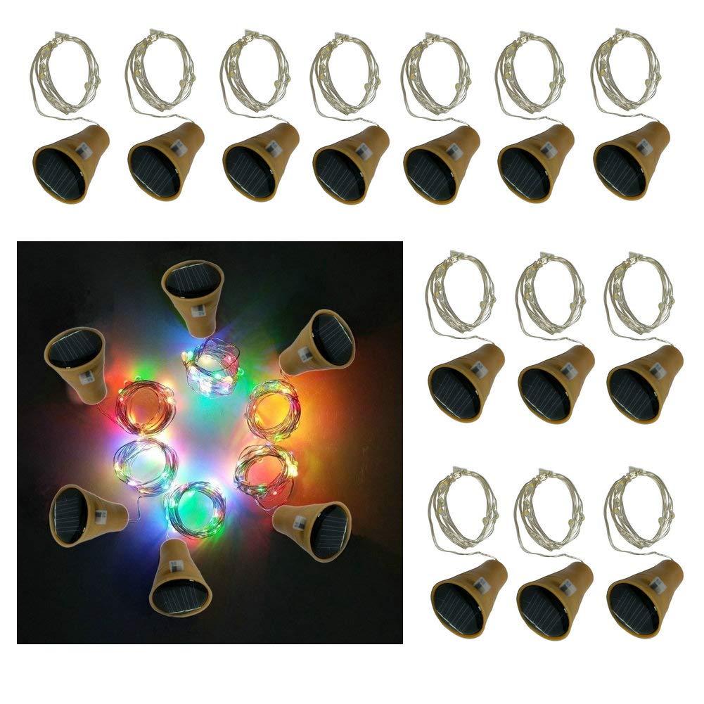 10 LED Bulbs Cork Bottle Lights Solar Powered 6 Pack/12 Pack 39 Inch/10 LED String Wine Cork Fairy Lights for Christmas, Wedding, Dance, Halloween, Party, Festival, Green plant Decor (Multi) (12)