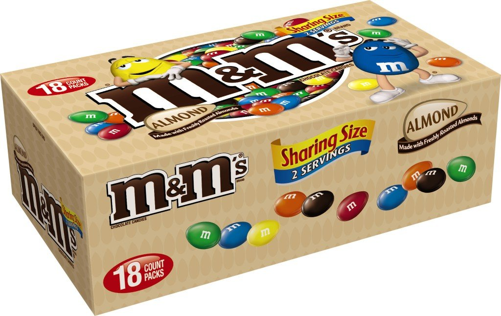 M&M'S Almond Chocolate Candy Sharing Size 2.83-Ounce Pouch 18-Count Box by M&M'S (Image #1)