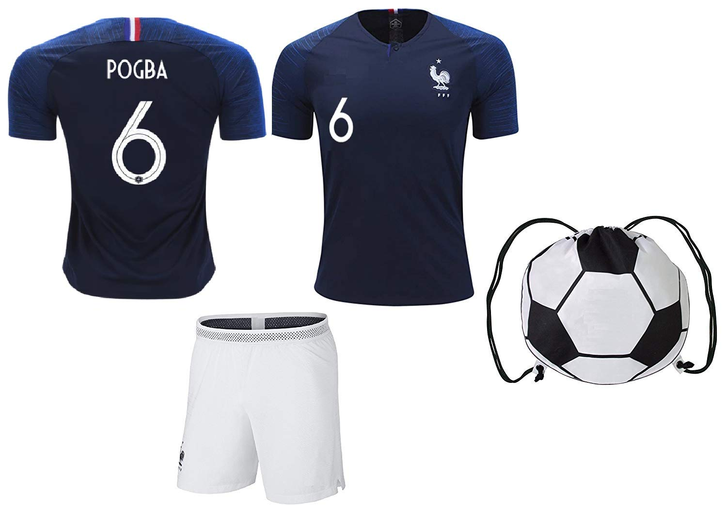 France Griezmann #7/Pogba #6 Soccer Jersey & Shorts Kids Youth Sizes Football World Cup Premium Gift Kit Set (YS 6-8 Years, Pogba #6 Jersey+Shorts)