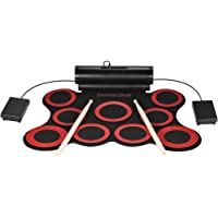 ammoon Batterie électronique Roll Up Drum Stereo Digital 9 Silicon Drum Pads Double haut-parleurs 3W alimentés par USB Pilotes de batterie Pédales 3.5mm Audio Cable