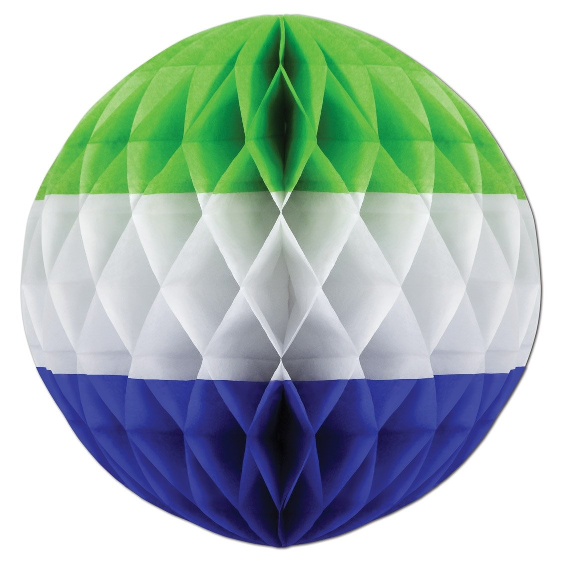 Beistle 1-Pack Tri-Color Tissue Ball, 14-Inch, Lime Green/White/Medium Blue