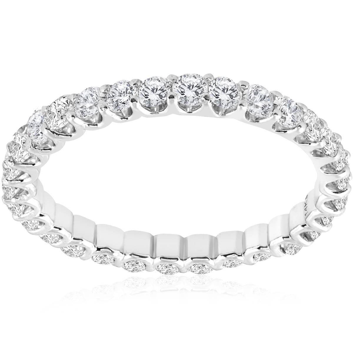1 1/2 cttw Diamond Eternity Ring U Prong 14k White Gold Wedding Band - Size 7