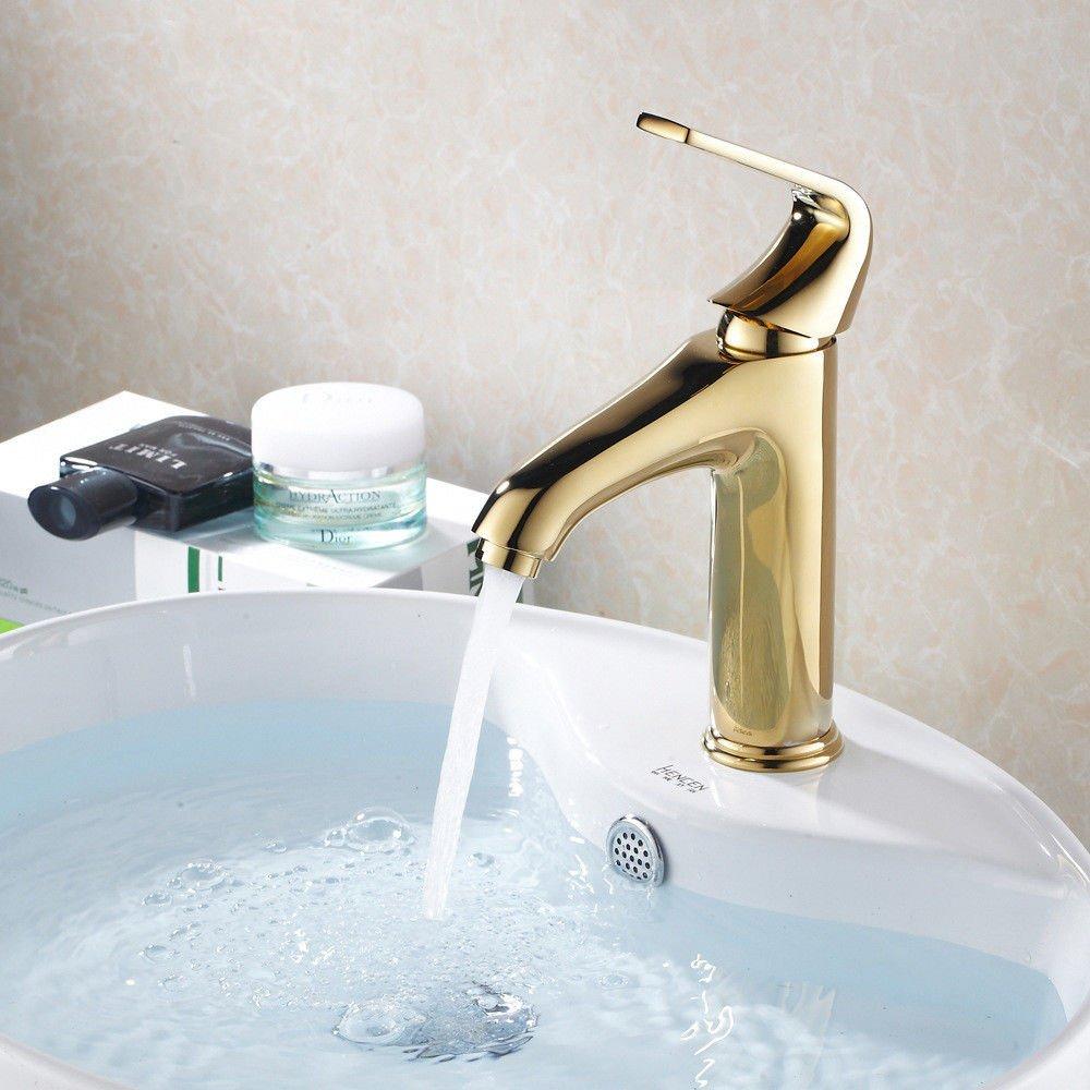 ETERNAL QUALITY Badezimmer Waschbecken Wasserhahn Messing Hahn Waschraum Mischer Mischbatterie Tippen Sie auf Becken - Kupfer antik Gold Kaltes Wasser Einzelne Bohrung Wa