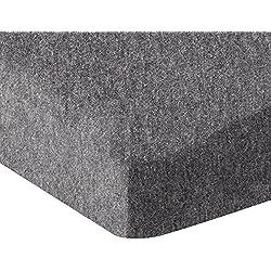 AmazonBasics Heather Jersey Fitted Crib Sheet, Dark Gray
