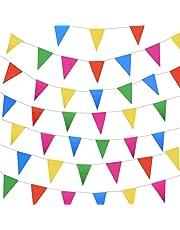 JZK 80 mètres, Bunting coloré de Partie Drapeau Triangle Chaîne de bannière Drapeaux de Fanion Décoration Suspendue pour fête d'anniversaire de Mariage fête de Fournitures Noël Halloween Accessoires