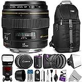 Canon EF 85mm f/1.8 USM Medium Telephoto Lens w/ Professional Photo and Travel Bundle