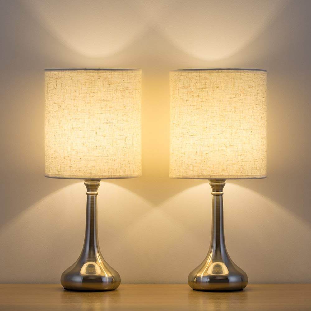 HAITRAL Bedside Table Lamps Set of 2 - Small Modern Nightstand Lamps with  Fabric Shade, Small Desk Lamps for Bedroom, Living Room, Family Room, Hotel  ...