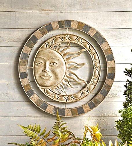 Metal and Stone Indoor Outdoor Sun Wall Art Earth Tones Wall Art...