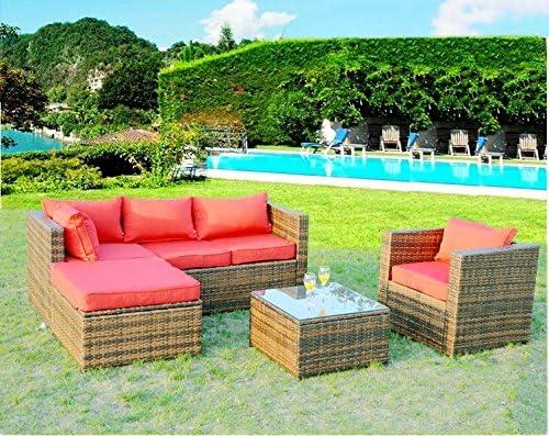 Sunbrella 5 piezas exterior Mimbre de polietileno Muebles de jardín Set w/tumbona silla de mesa: Amazon.es: Jardín