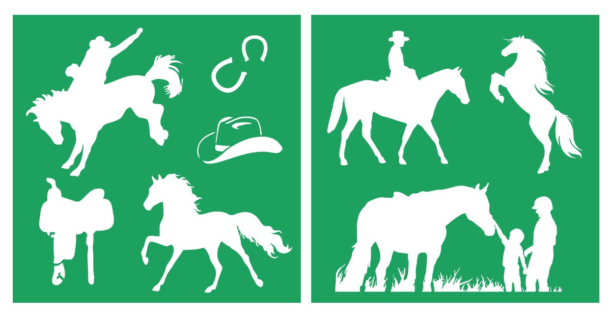 Auto Vynamics - STENCIL-HORSESET01-10 - Detailed Horses & Horse Riding Stencil Set - Featuring Several Different Horse & Rider Designs! - 10-by-10-inch Sheet - (2) Piece Kit - Pair of Sheets