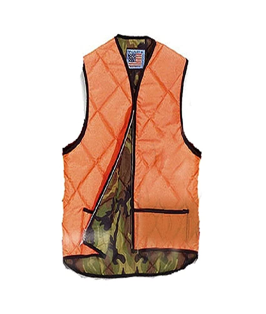 Big and Tall Hi Visibility Orange Hunting Vest With Camo Liner