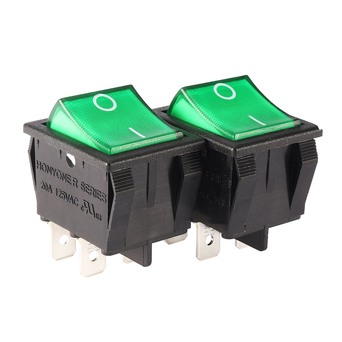 Aexit 2Pcs AC Electrical Equipment 20A/125V 22A/250V DPST Green LED Light Rocker Switch Toggle Switches UL Listed