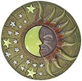 Circular Moon & Sun Celestial Glow in The Dark Stepping Stone Garden Art