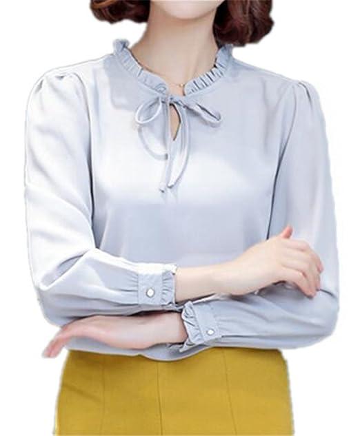 Tayaho Camisa De Manga Larga Mujer Camisetas Color SÓLido Ocasionales Blusa Vintage Elegantes T Shirt Bonitas Oficina Camisa Sencillos Volantes Tops ...