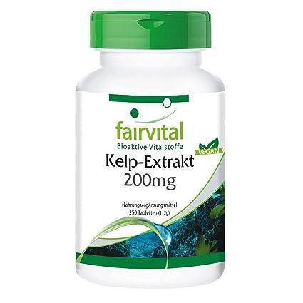 Extracto de Kelp 200mg con Yodo 300mcg - VEGANO - 250 comprimidos - Yodo natural -