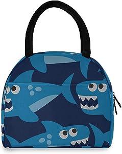 Girls Lunch Tote Bag Shark Sawtooth Ocean Fish Tail Lunch Tote Bags Lunchbag Bag For Women Men Adults College Work Picnic Hiking Beach Fishing