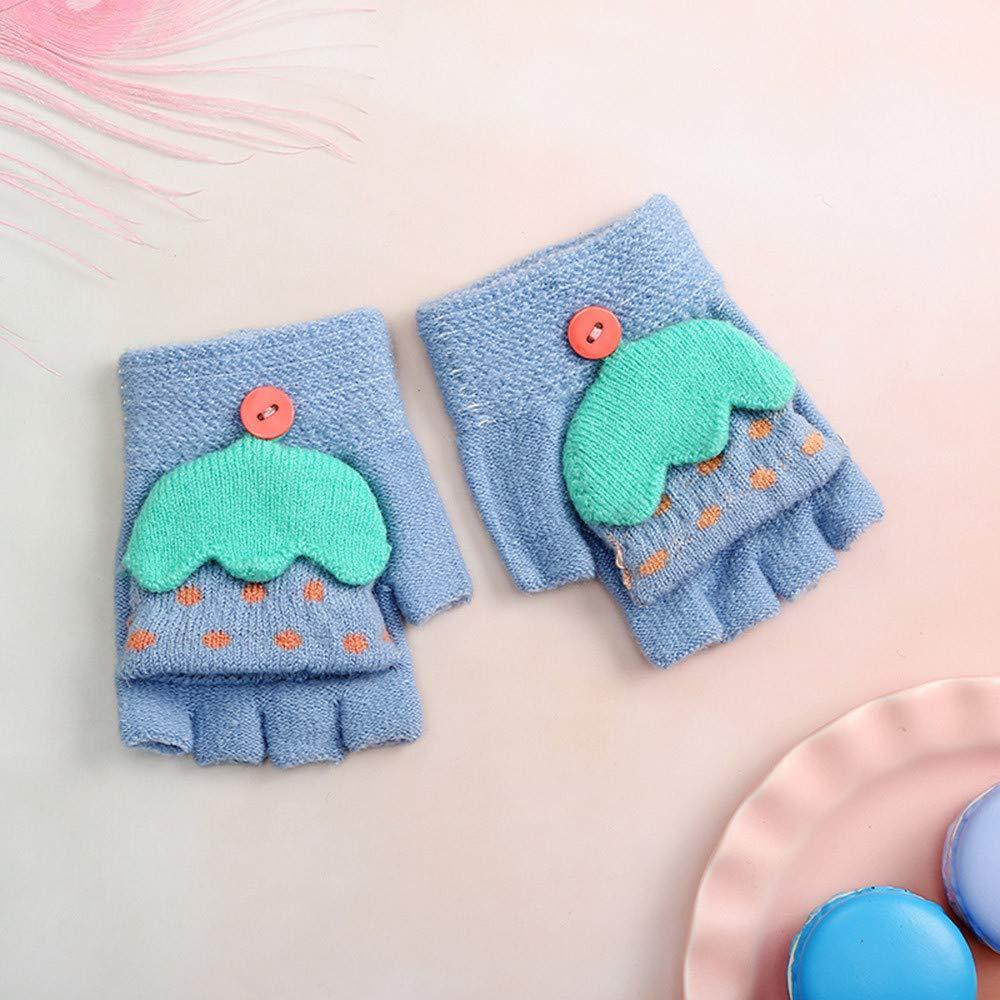 2-4J Kind Winter Cartoon Regenschirm Warm halten Halber Finger Handschuh N/ähen Atmungsaktiv Cartoon Leichtgewicht Baumwollmischung Warme Handschuhe catmoew