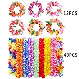 HAN-MM 52PCS Leis Luau Flowers Necklaces and Headband Headpiece Leis Tropical Tiki Hibiscus Flowers