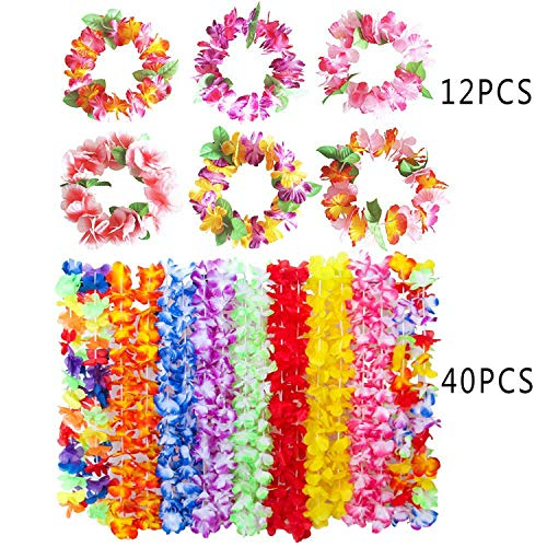 52PCS Hawaiian Leis Luau Party Supplies-Hawaiian Leis Flowers Necklaces and Headband Headpiece Leis Tropical Tiki Hibiscus Flowers for Party Supplies,Birthday Party Favors By HAN-MM -