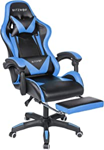 Gaming Chair BlitzWolf Office Chair Ergonomic Computer Chair PC Gaming Chair with Footrest 150°Reclining Detachable Pillows Armrest Home Office Blue