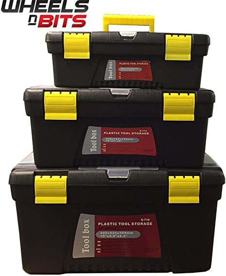 "12/"" 14/"" 16/"" inch Tool Box Set DIY Home Storage Garage Household Organiser 3pc"