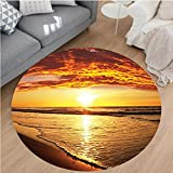 Nalahome Modern Flannel Microfiber Non-Slip Machine Washable Round Area Rug-h Sun Lights Up Clouds and the Sea from the Horizon at Hawaii Picture Orange Yellow Beige area rugs Home Decor-Round 79''