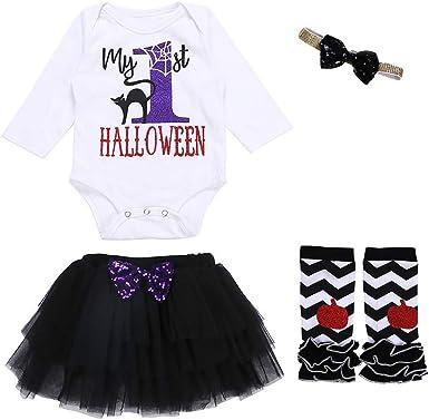 FELZ Conjunto de Traje de Halloween 4PCS Infantil Mameluco Niña ...