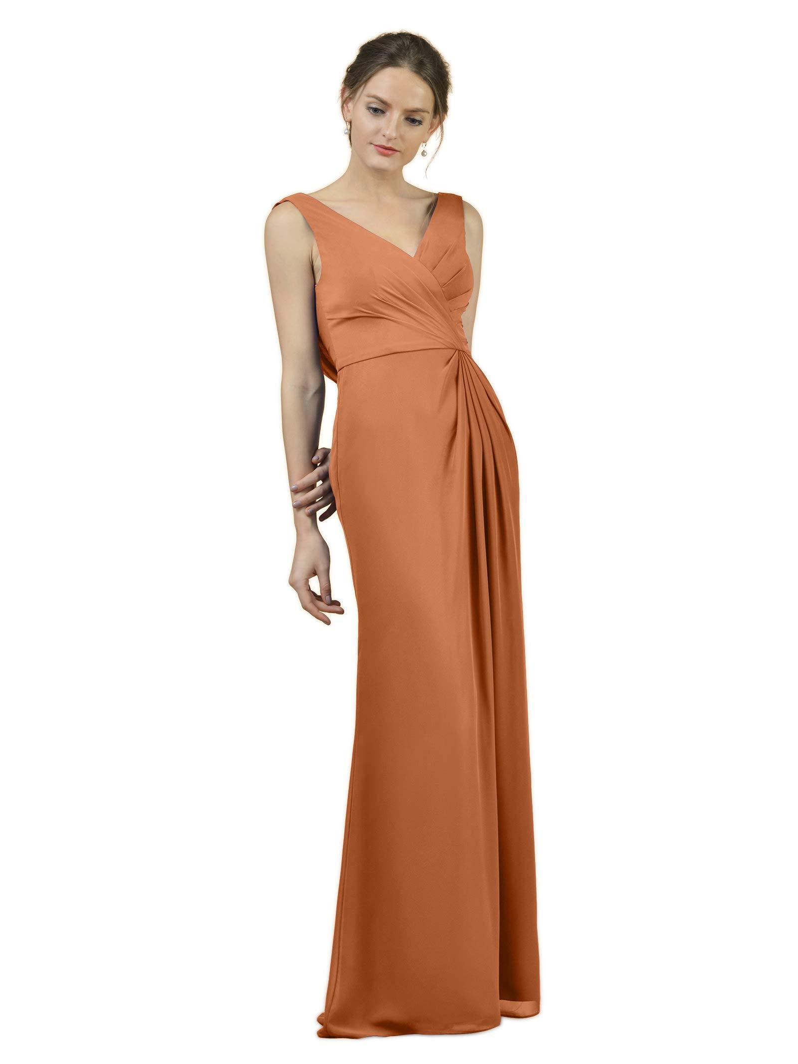 ed1168b41 Alicepub Long Bridesmaid Dresses Mermaid Elegant Maxi Dress Formal Evening  Prom Gown, Burnt Orange, US14